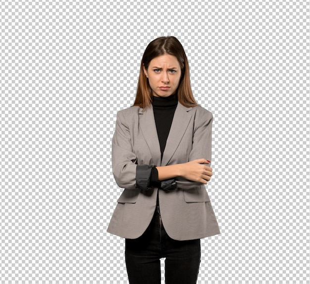 Mujer de negocios sentirse molesto
