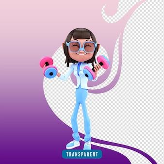 Mujer de personaje 3d con pesas