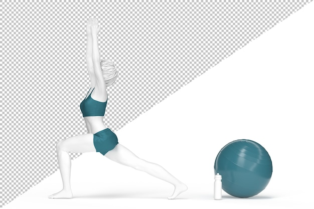 Mujer en pose de guerrero durante la práctica del yoga