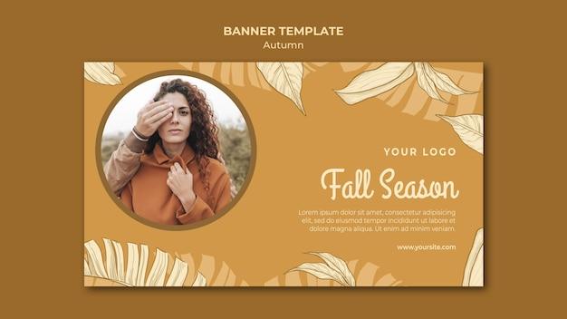 Mujer de temporada de otoño con banner de cara cubierta