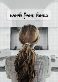 Mujer trabajando desde casa durante la maqueta de la pandemia de coronavirus