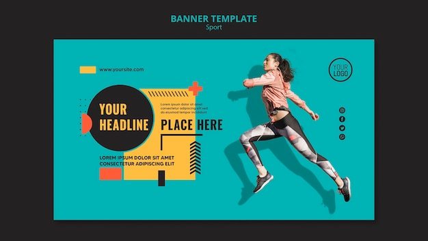 Mujer de vista lateral corriendo plantilla de banner