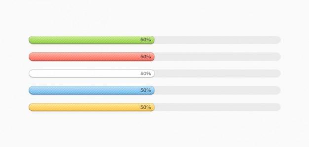 Multi-gekleurde progress bars (psd)