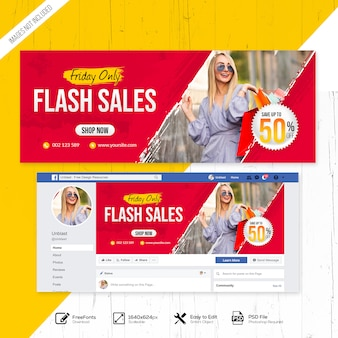 Multifunctionele flash sales facebook cover of banner sjabloon