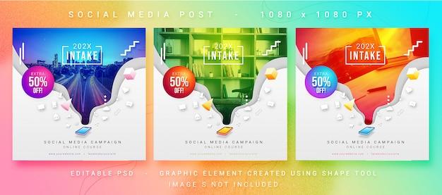Multifunctionele psd-sjabloon voor sociale media-campagnes