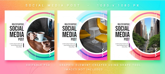 Multifunctionele social media post psd-sjabloon