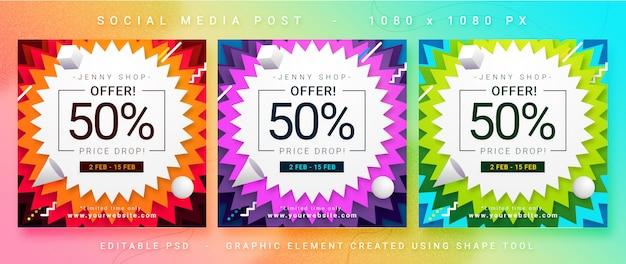 Multifunctionele verkoop social media post