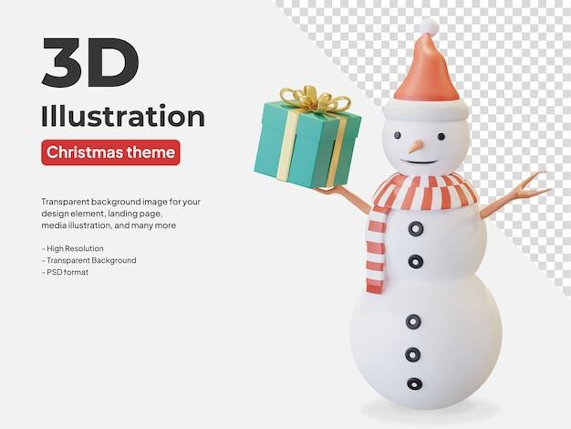Muñeco de nieve con gorro de papá noel y bufanda de rayas rojas con ilustración de caja de regalo 3d