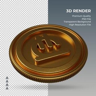 Munt georgische lari valutasymbool goud 3d-rendering linker weergave