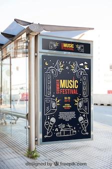 Mupi modelo de maquete com conceito de música