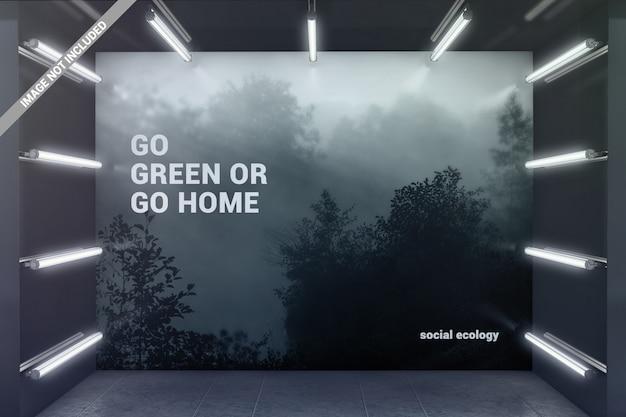 Muro in mockup sala espositiva incandescente
