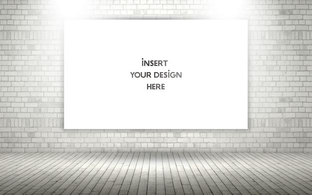 Muro de ladrillos a la vista 3d con lienzo en blanco maqueta