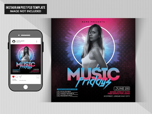 Music friday party flyer