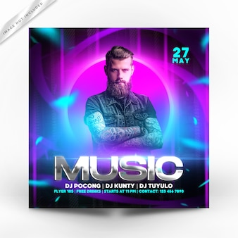 Music party flyer premium
