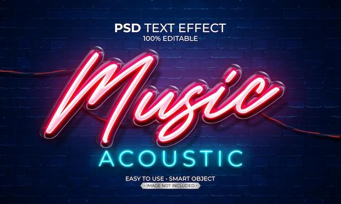 Música acústica luz de neón efecto de texto
