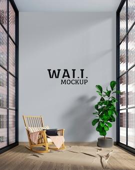 Muur- en framemodel - de kamer heeft een grote cementmuur
