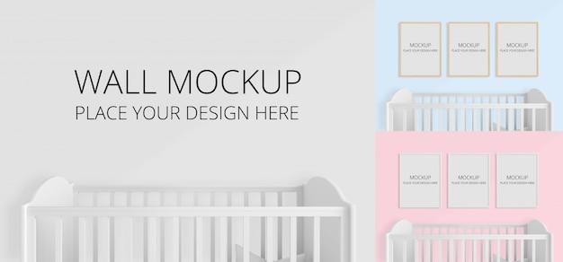 Muur en leeg fotolijstje voor model in kinderslaapkamer