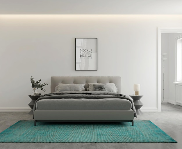 Muur- en postermodel in moderne monochromatische slaapkamer 3d-rendering