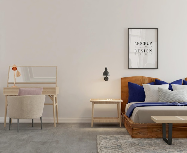 Muur- en postermodel in moderne slaapkamer 3d-rendering
