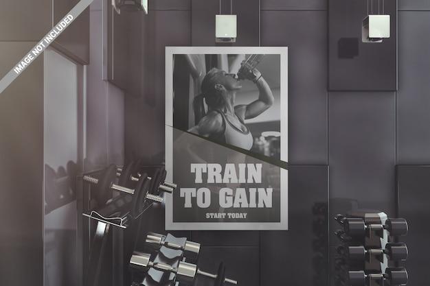 Muur interieur gym poster mockup