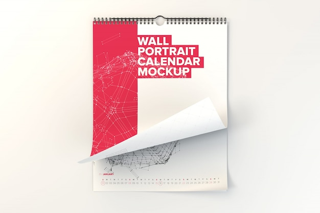 Muur kalender mock up design