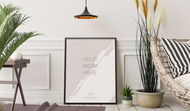 Muur met stoel in woonkamer en frame mockup