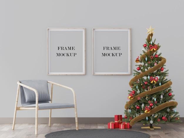 Muurframes mockup naast kerstboom 3d-rendering mockup