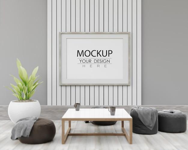 Muurkunstmodel, canvaskader in woonkamer