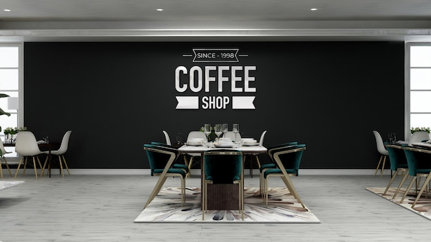 Muurlogomodel in de coffeeshop met houten tafel en stoel and