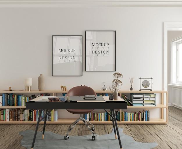 Muurmodel en posterframe-mockup in modern studeerkamerinterieur