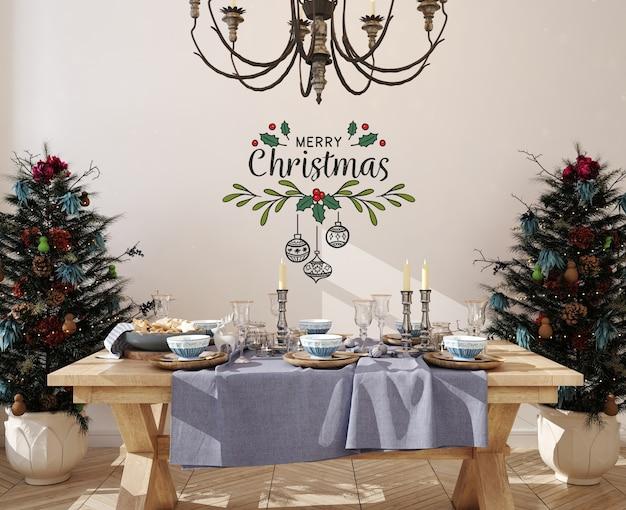 Muurmodel in eetkamer met kerstboom