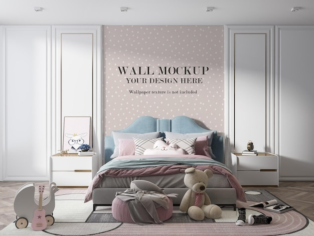 Muurmodel op meisjesslaapkamer versierd met speelgoed
