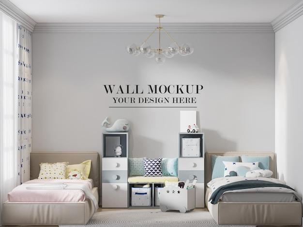 Muursjabloon voor uw texturen in een slaapkamer met twee eenpersoonsbedden