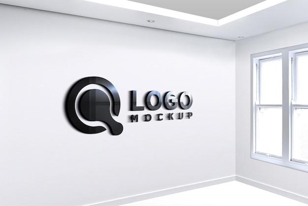 Muurtekens glanzend zwart logo-mockup