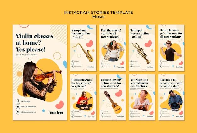 Muziek concept instagram verhalen sjabloon