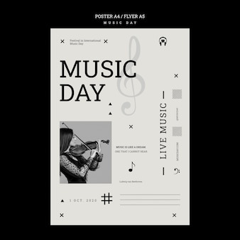 Muziek dag poster sjabloon