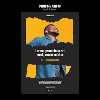 Muziek- en dansevenement sjabloon poster