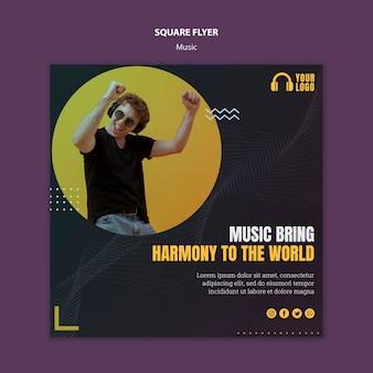 Muziek evenement vierkante flyer ontwerpen