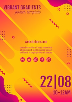 Muziek festival gele poster sjabloon