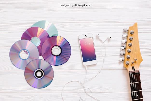 Muziek mockup met cd's