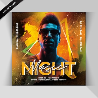 Muziek nacht feest flyer