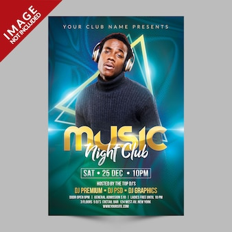 Muziek night club flyer psd-sjabloon