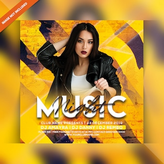Muziek night party flyer