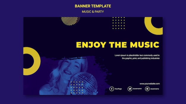 Muziek & partij concept sjabloon voor spandoek
