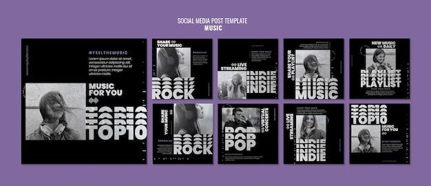 Muziek social media post sjablonen met foto