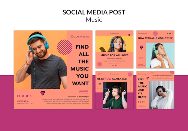 Muziek social media postsjabloon