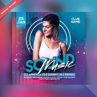 Muziek sound party flyer of vierkante sjabloon