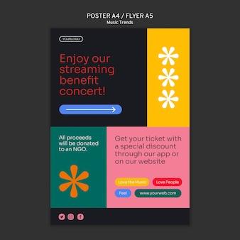 Muziek streaming platform poster sjabloon