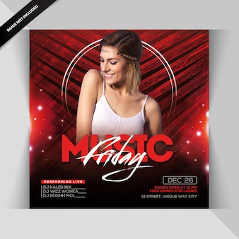 Muziek vrijdag party flyer