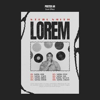 Muziekalbum poster met stofeffect